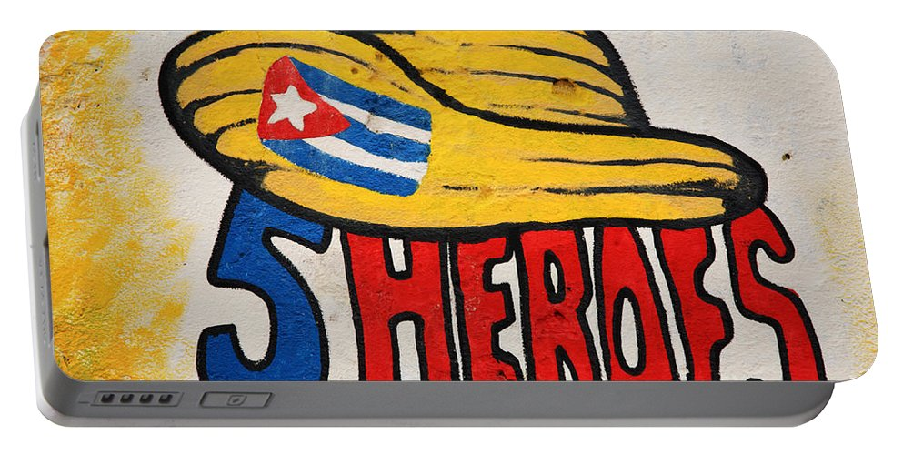 Argentine Portable Battery Charger featuring the photograph Five Heroes Cuba by Deborah Benbrook