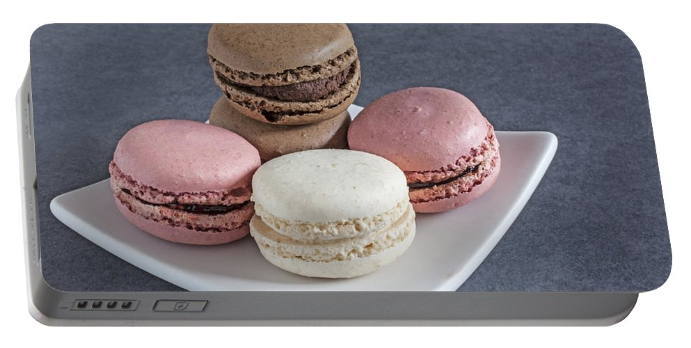 Macaroons Portable Battery Charger featuring the photograph Five Macaroons by Liz Leyden