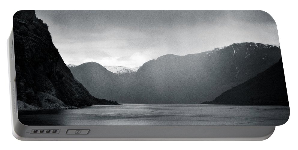 Norway Portable Battery Charger featuring the photograph Fjord Rain by Dave Bowman