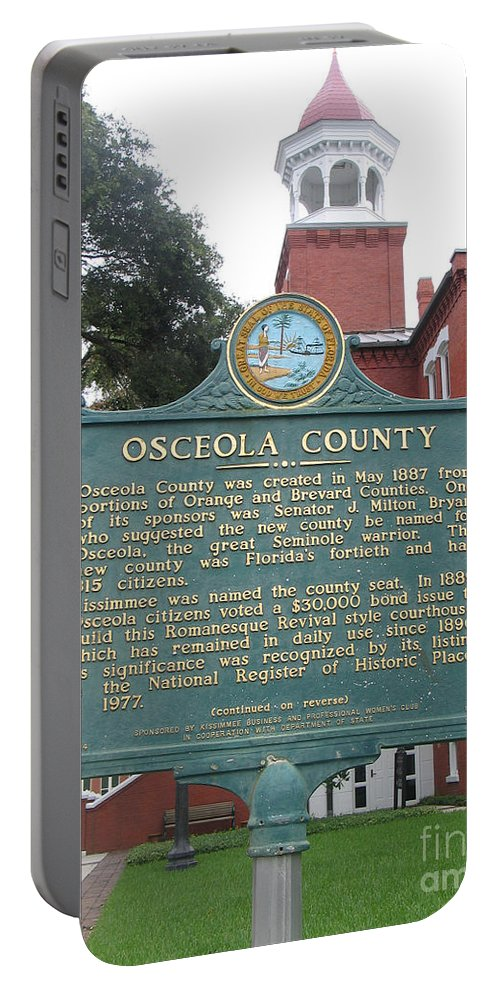 Historic Marker Portable Battery Charger featuring the photograph Fl-f304 Osceola County by Jason O Watson