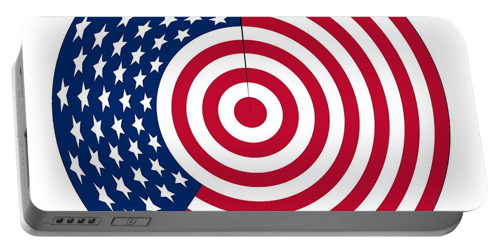 Flag Portable Battery Charger featuring the digital art Flag Circle by Ron Hedges