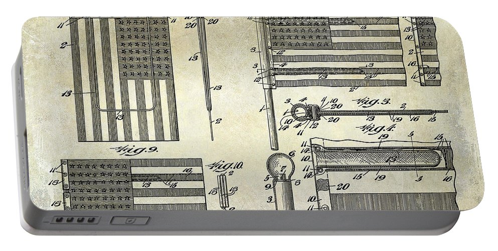 Flag Portable Battery Charger featuring the photograph 1927 Flag Spreader Patent Drawing by Jon Neidert