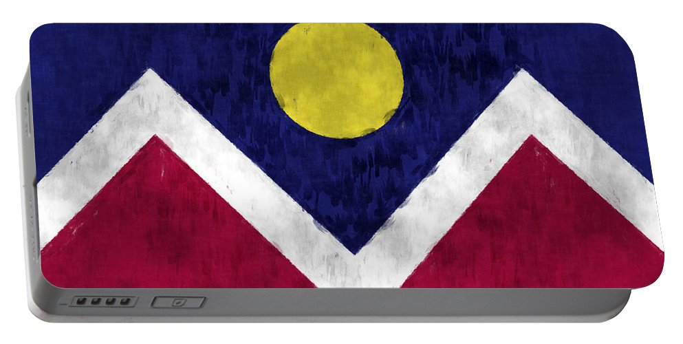 American City Flags Portable Battery Charger featuring the digital art Flag Of Denver by World Art Prints And Designs