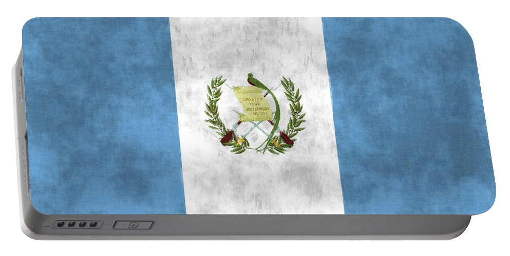 Central America Portable Battery Charger featuring the digital art Flag Of Guatamala by World Art Prints And Designs