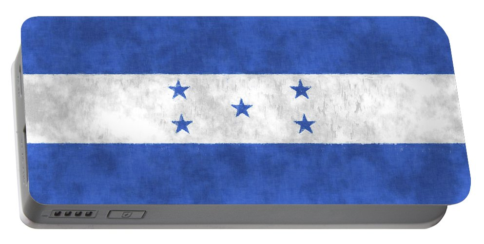 Central America Portable Battery Charger featuring the digital art Flag Of Honduras by World Art Prints And Designs