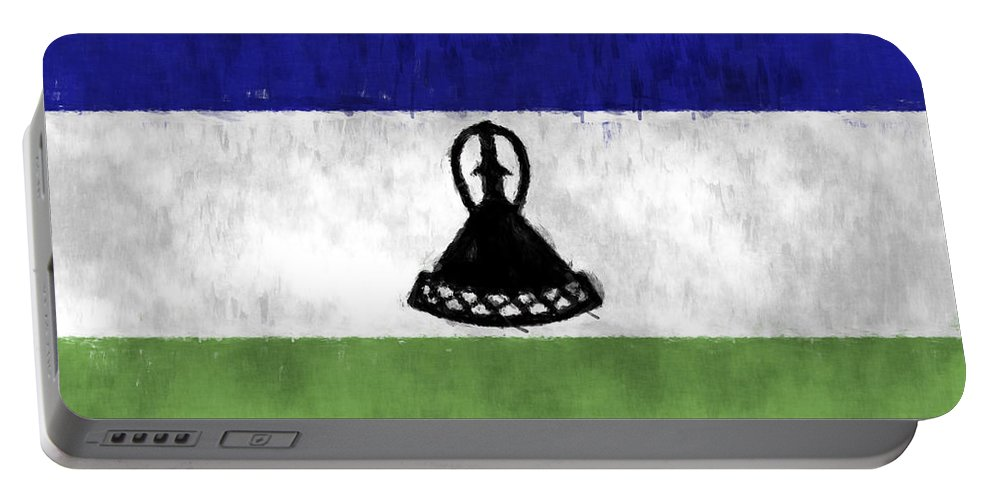 Africa Portable Battery Charger featuring the digital art Flag Of Lesotho by World Art Prints And Designs