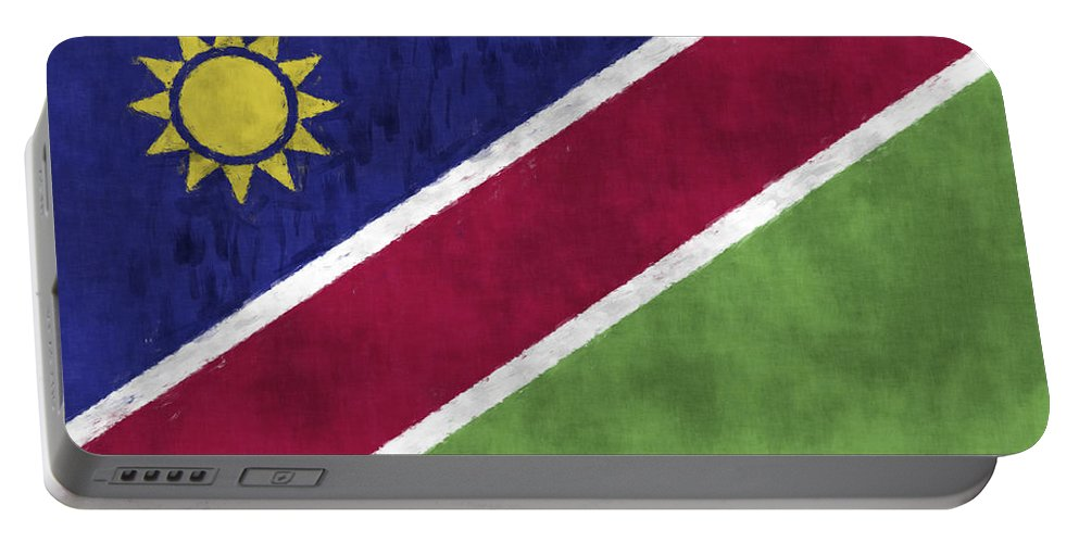 Africa Portable Battery Charger featuring the digital art Flag Of Namibia by World Art Prints And Designs