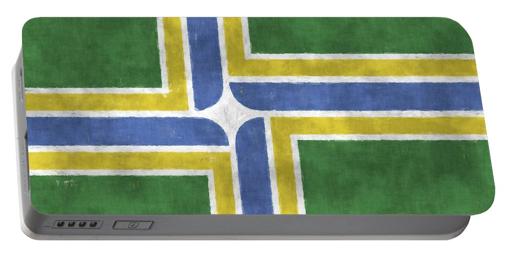 American City Flags Portable Battery Charger featuring the digital art Flag Of Portland by World Art Prints And Designs