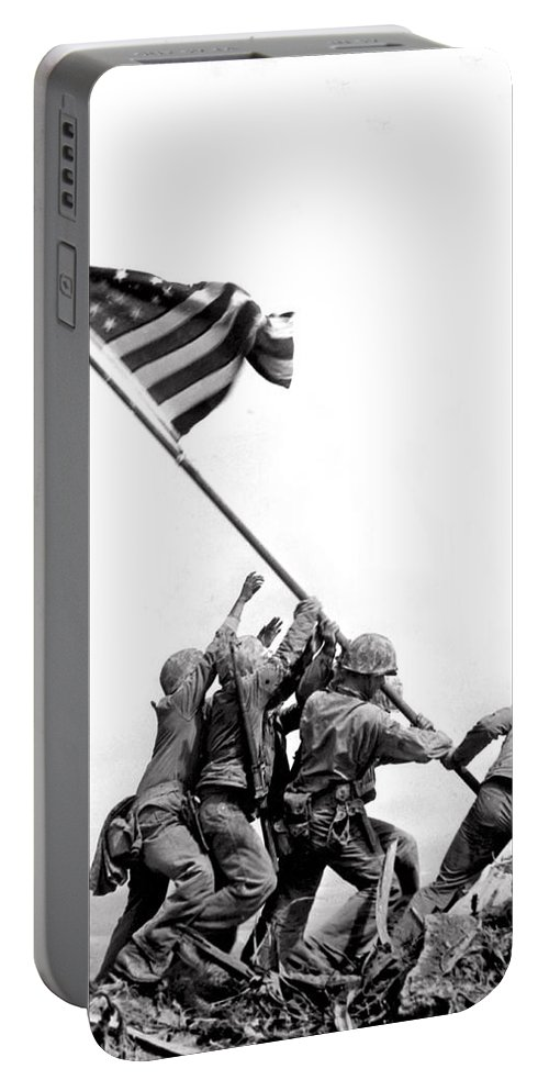 1035-1157 Portable Battery Charger featuring the photograph Flag Raising At Iwo Jima by Underwood Archives