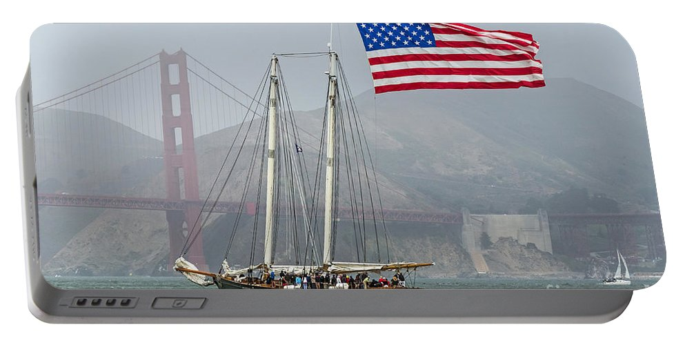 America's Cup Portable Battery Charger featuring the photograph Flag Ship by Kate Brown