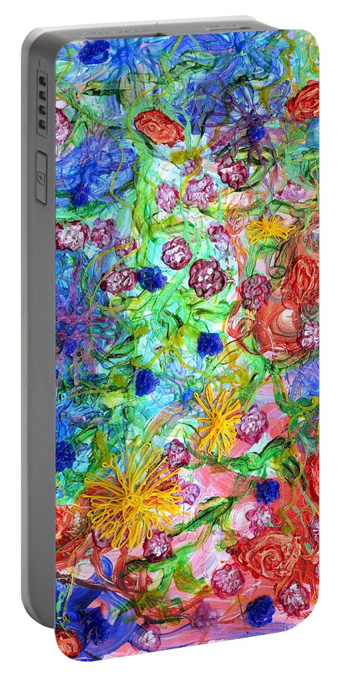 Flowers Portable Battery Charger featuring the painting Flagrantly Floral by Regina Valluzzi