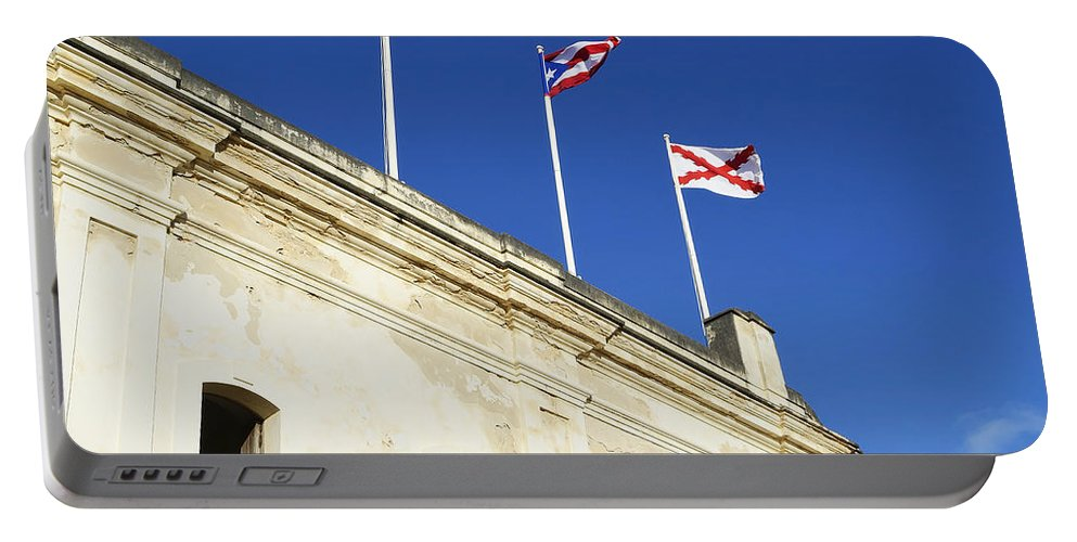 San Christobal Portable Battery Charger featuring the photograph Flags Of San Christobal by Shanna Hyatt