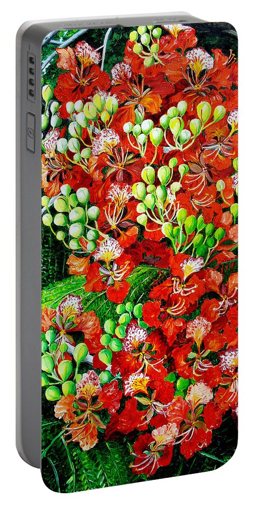Royal Poincianna Painting Flamboyant Painting Tree Painting Botanical Tree Painting Flower Painting Floral Painting Bloom Flower Red Tree Tropical Paintinggreeting Card Painting Portable Battery Charger featuring the painting Flamboyant in Bloom by Karin Dawn Kelshall- Best