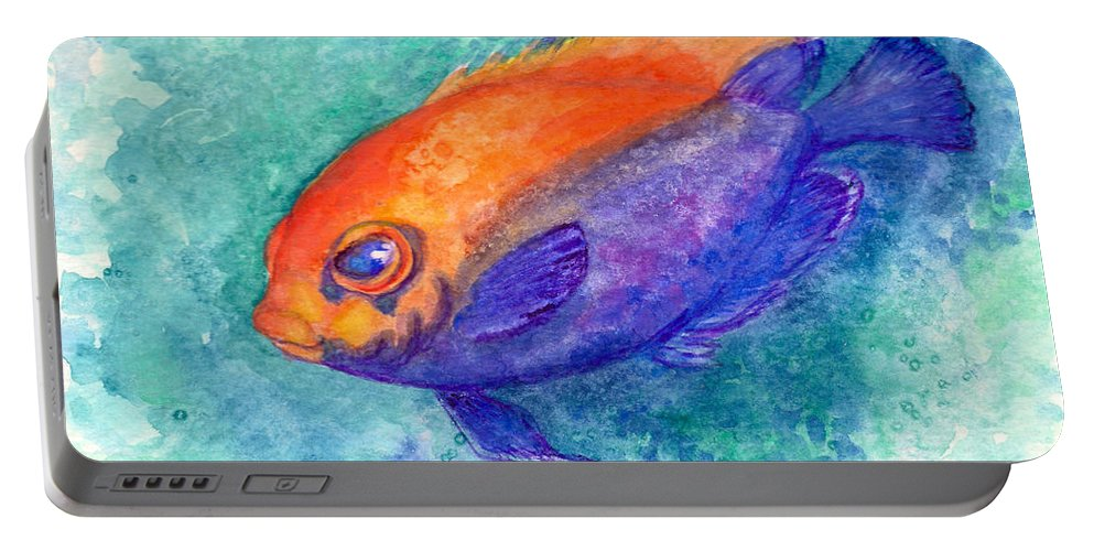 Tropical Fish Portable Battery Charger featuring the painting Flameback Angelfish by Ashley Kujan