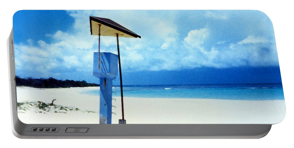 Flamenco Beach Portable Battery Charger featuring the photograph Flamenco Beach And Storm by Duane McCullough