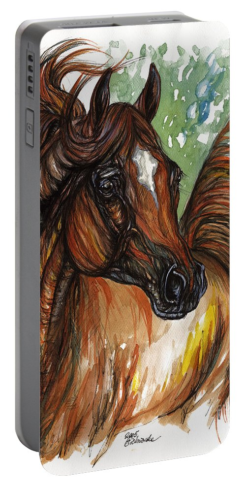 Psychodelic Portable Battery Charger featuring the painting Flaming Horse by Angel Ciesniarska