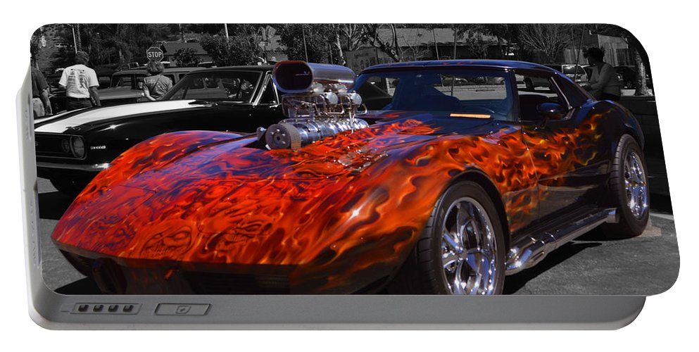 Corvette Portable Battery Charger featuring the photograph Flaming Vette by Tommy Anderson