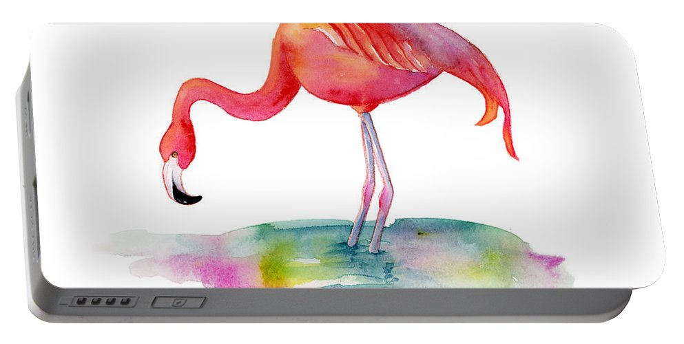 Flamingo Portable Battery Charger featuring the painting Flamingo Dip by Amy Kirkpatrick