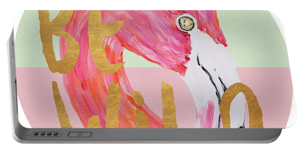 Flamingo Portable Battery Charger featuring the painting Flamingo On Stripes Round by South Social D