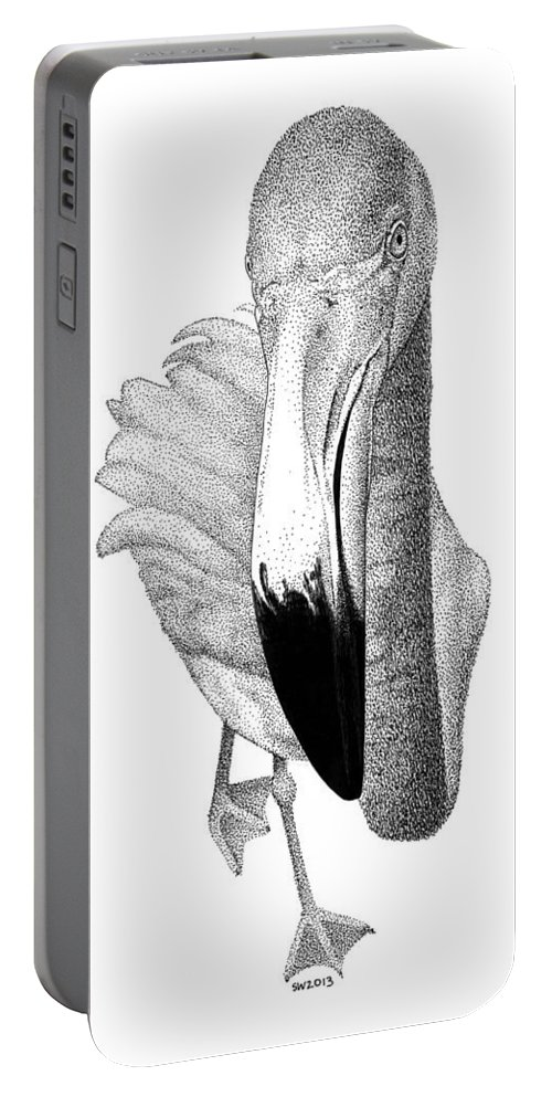 Flamingo Portable Battery Charger featuring the drawing Flamingo by Scott Woyak