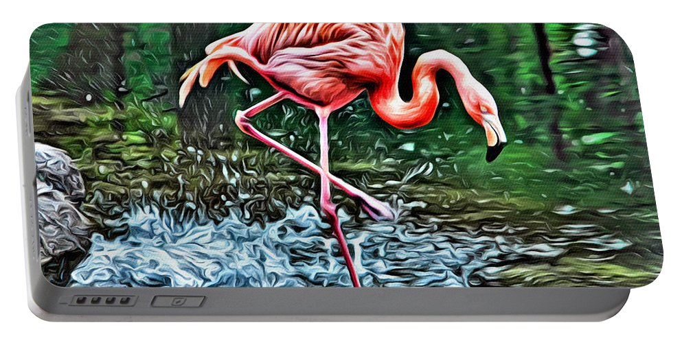 Flamingo Portable Battery Charger featuring the photograph Flamingo Splash Two by Alice Gipson