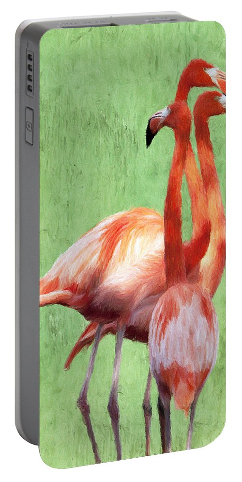 Tall Portable Battery Charger featuring the painting Flamingo Twist by Jeffrey Kolker