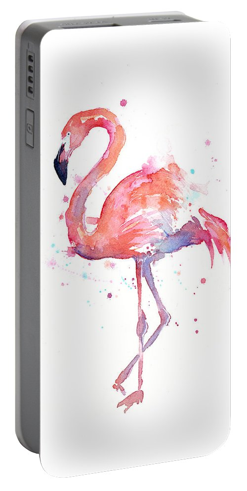 Bird Portable Battery Charger featuring the painting Flamingo Watercolor by Olga Shvartsur