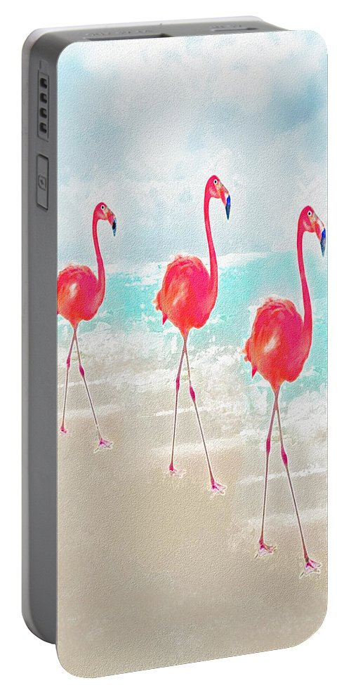Jane Schnetlage Portable Battery Charger featuring the digital art Flamingos On The Beach by Jane Schnetlage