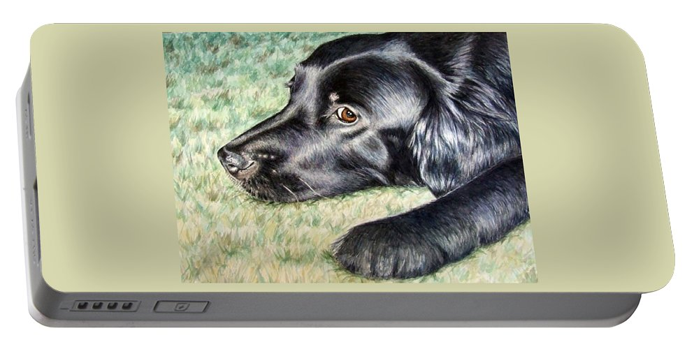 Dog Portable Battery Charger featuring the painting Flat Coated Retriever by Nicole Zeug