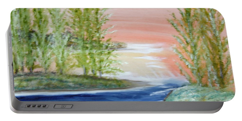 Flathead Portable Battery Charger featuring the painting Flathead Lake Sunset by Suzanne Surber