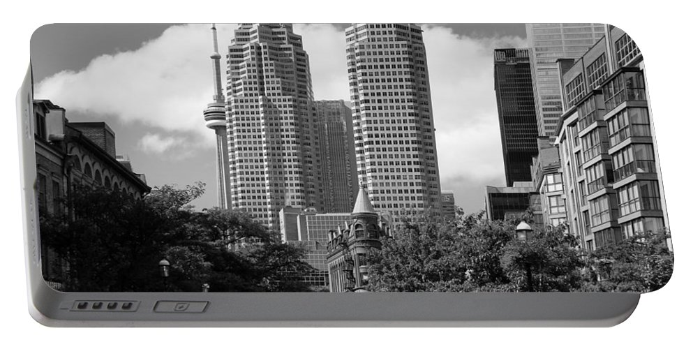 Toronto Portable Battery Charger featuring the photograph Flatiron Building Toronto 2b by Andrew Fare
