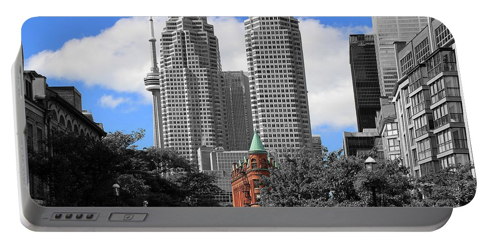 Toronto Portable Battery Charger featuring the photograph Flatiron Building Toronto 2c by Andrew Fare