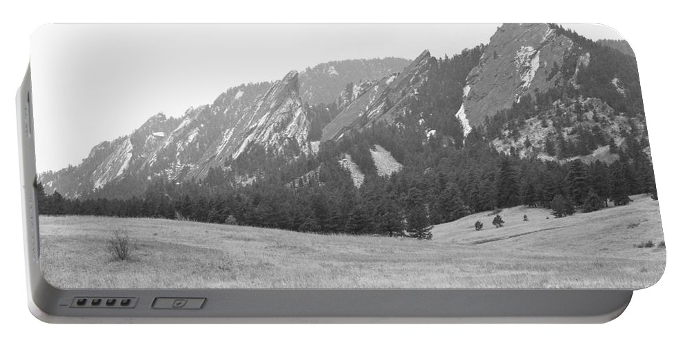 Flatirons Portable Battery Charger featuring the photograph Flatirons Boulder Colorado Winter View Bw by James BO Insogna