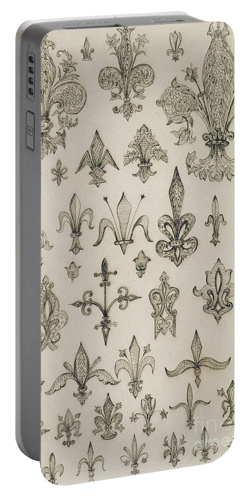 Design; Decoration; Ornament; Lily Portable Battery Charger featuring the drawing Fleur De Lys Designs From Every Age And From All Around The World by Jean Francois Albanis de Beaumont