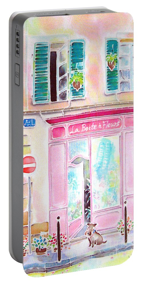 Flower Shop Portable Battery Charger featuring the painting Fleuriste by Hisayo Ohta