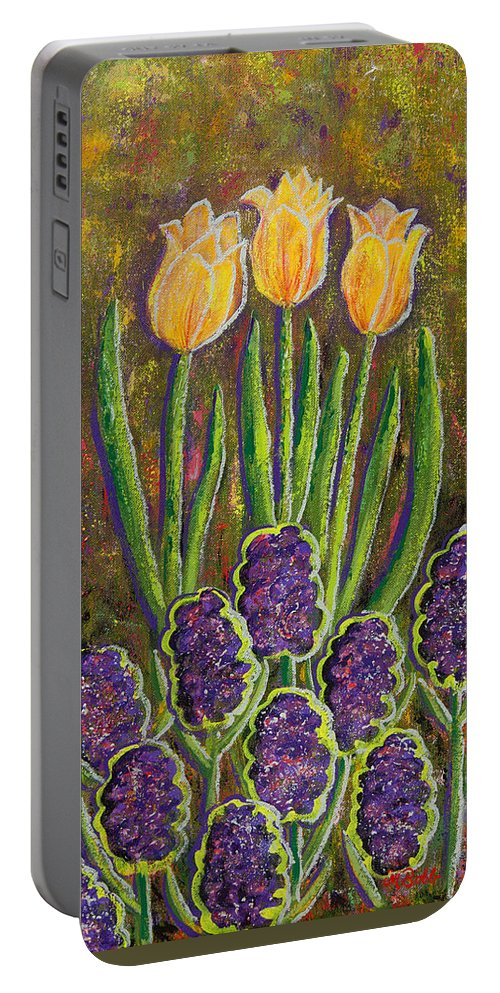 Contemporary Portable Battery Charger featuring the painting Fleurs D' Tulips And Hyacinths by Margaret Bobb