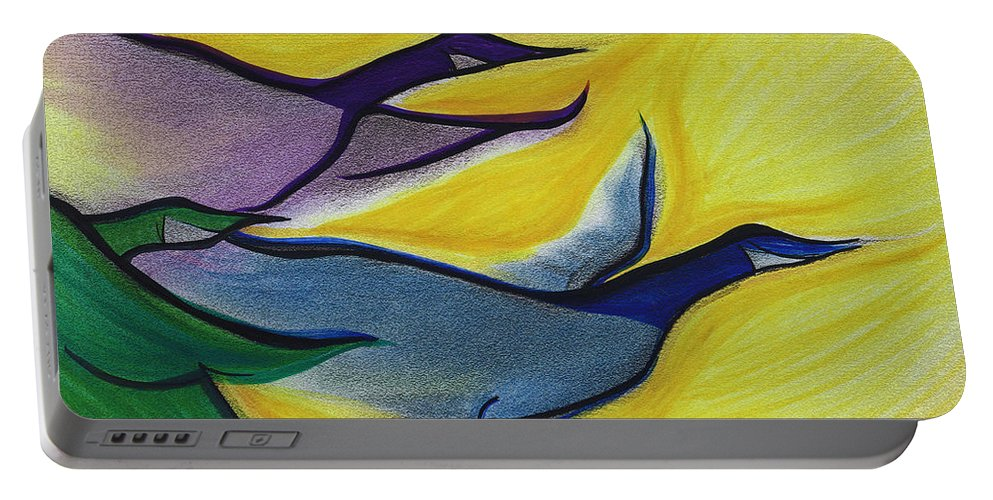 Portable Battery Charger featuring the painting Flight By Jrr by First Star Art