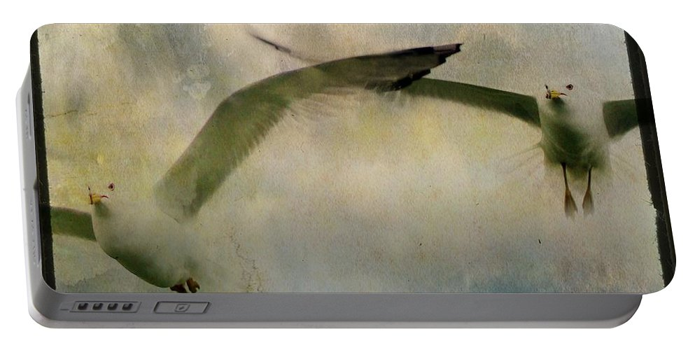 Sky Portable Battery Charger featuring the photograph Flight Of The Seagulls by Gothicrow Images
