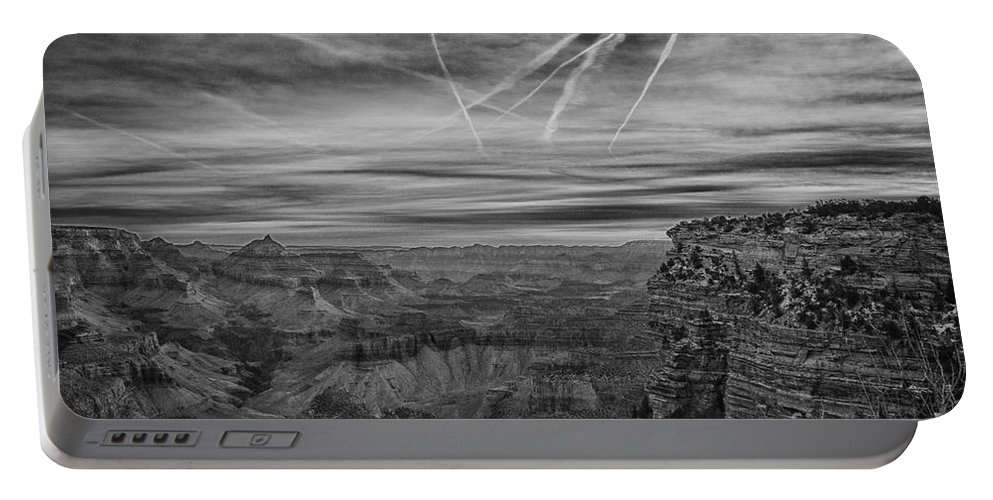 Flightpath Portable Battery Charger featuring the photograph Flightpath-black And White by Douglas Barnard
