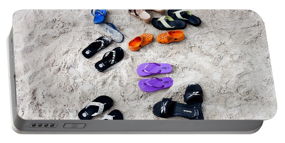 Hilton Head Portable Battery Charger featuring the photograph Flip Flops On The Beach by Thomas Marchessault