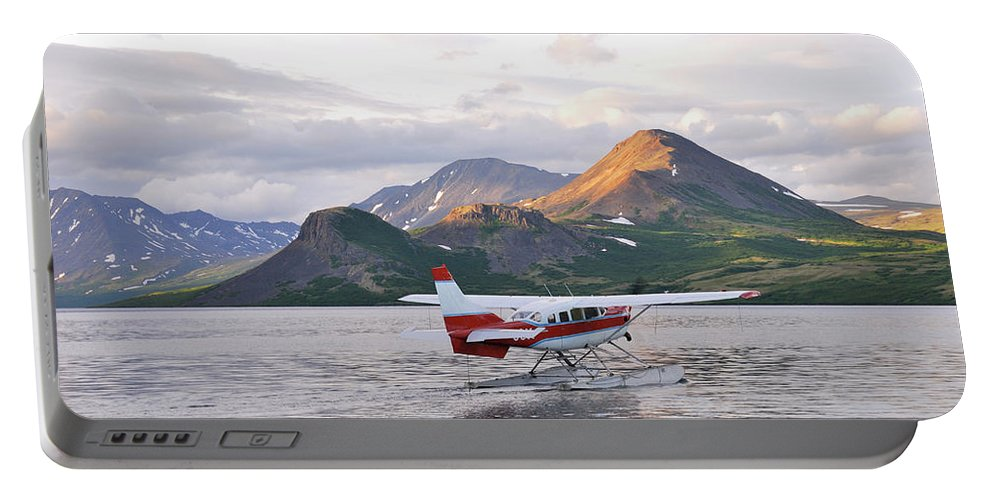 Airplane Portable Battery Charger featuring the photograph Float Plane On Kulik River, Kulik, Ak by Beck Photography