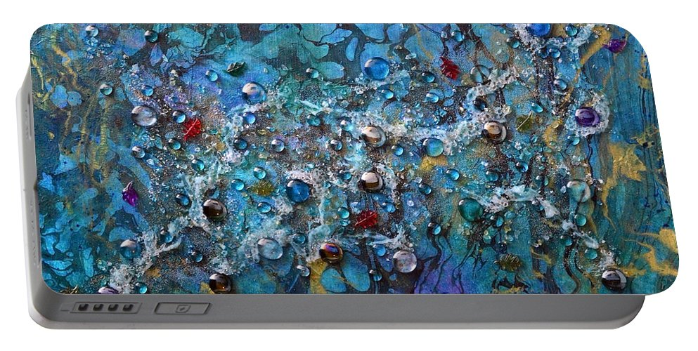 River Portable Battery Charger featuring the mixed media Floating Down The River by Donna Blackhall
