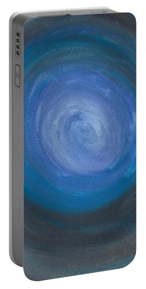 Abstract Portable Battery Charger featuring the painting Floating Blues by Jill Christensen