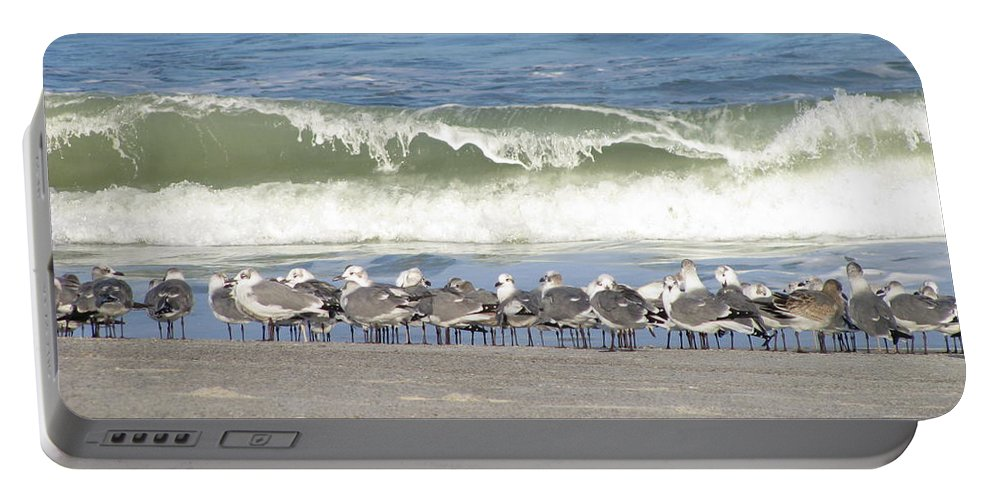 Landscape Portable Battery Charger featuring the photograph Flock And Wave by Ellen Meakin