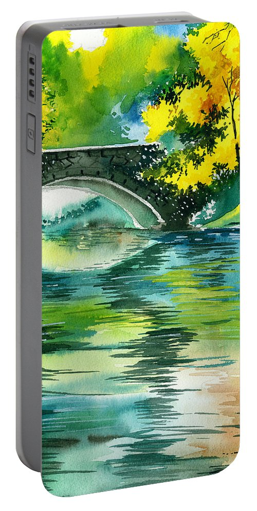 Nature Portable Battery Charger featuring the painting Floods R by Anil Nene
