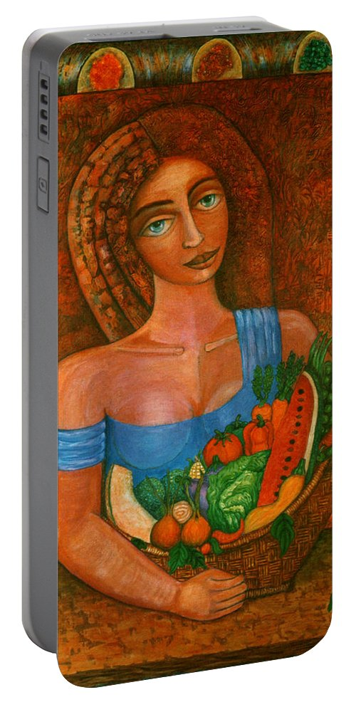 Acrylic Portable Battery Charger featuring the painting Flora - Goddess Of The Seeds by Madalena Lobao-Tello
