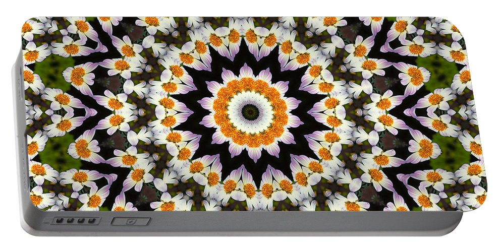 Flora Portable Battery Charger featuring the painting Flora Kaleidoscope by Lynne Jenkins