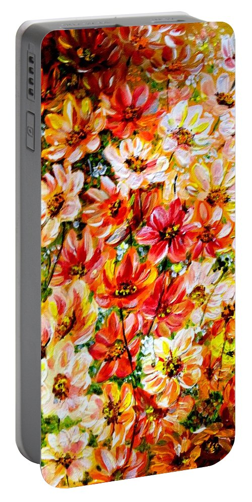 Abstract Daises Portable Battery Charger featuring the painting Floral Abstract by Karin Dawn Kelshall- Best