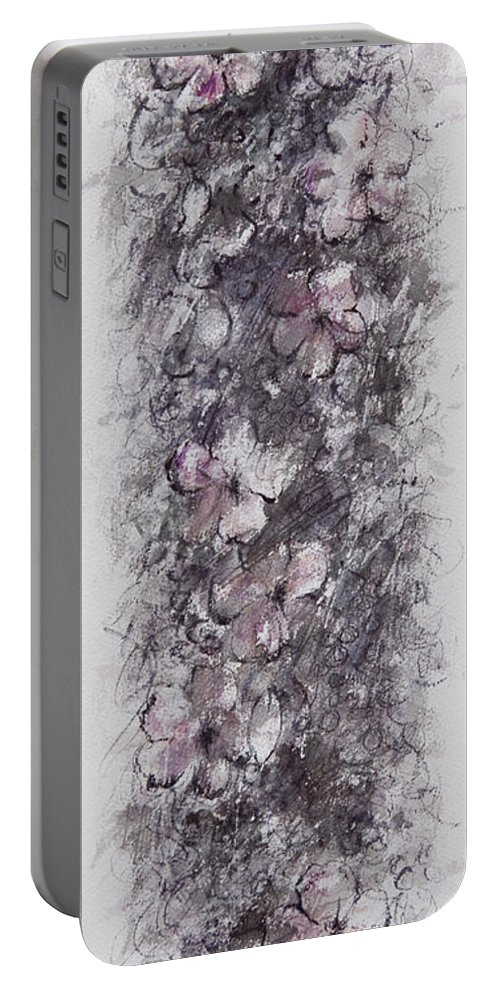 Floral Portable Battery Charger featuring the painting floral cascade II by William Russell Nowicki