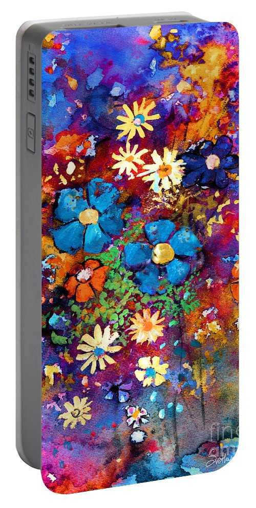 Abstract Floral Art Portable Battery Charger featuring the painting Floral Dance Fantasy by Svetlana Novikova